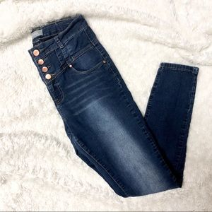 Denim - Vienna High Rise Button Fly Skinny Jeans
